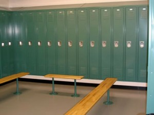 green sports lockers in gym