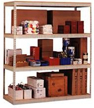 rivet shelving loaded with garage items