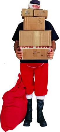 ups santa with boxes