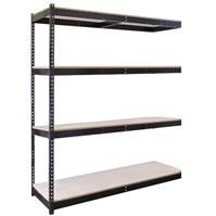 4 shelf Black Double Rivet Shelving Adder Units