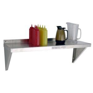 aluminum NSF restaurant wall shelf with ketchup bottles, mustard bottles, water pitcher, and coffee pot