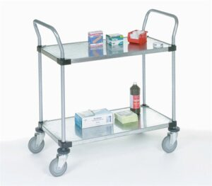 stainless steel metal utility cart with four wheels