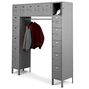 16 person metal locker with coat rod