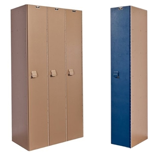 Taupe and blue plastic lockers