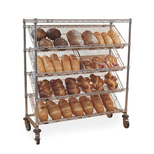 Slanted Chrome Wire Shelves With Bread For Restaurant Or Bakery