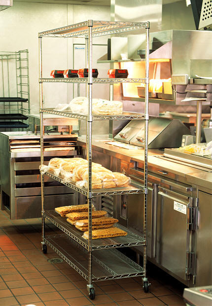 Wire Shelving In Restaurant Kitchen