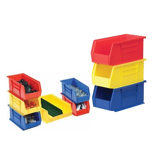 A set of nine stackable bins in different colors for use on wire shelving.