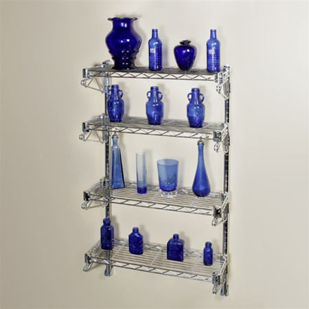 Four shelf wire rack mounted on the wall with blue bottles.