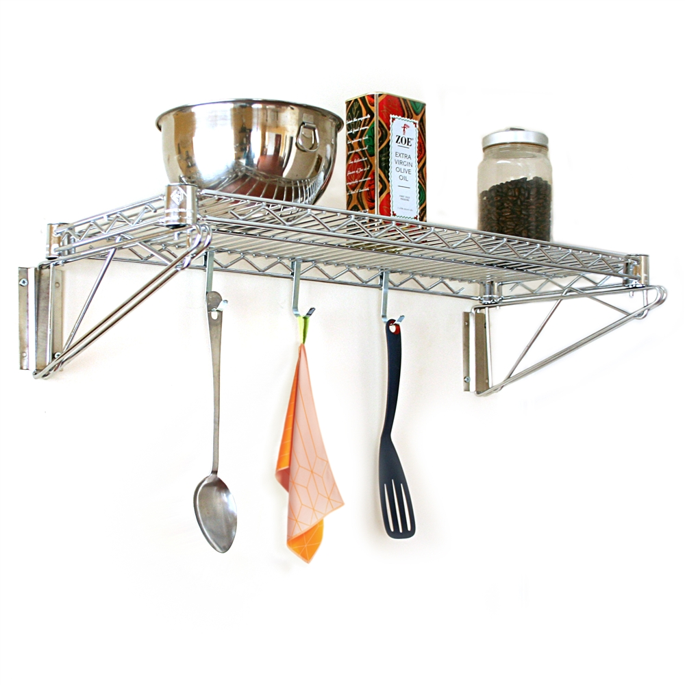 Wire rack to hang pots and pans from with shelf on top.