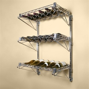 Three tiered wine rack storing 18 wine bottles mounted on a wall.