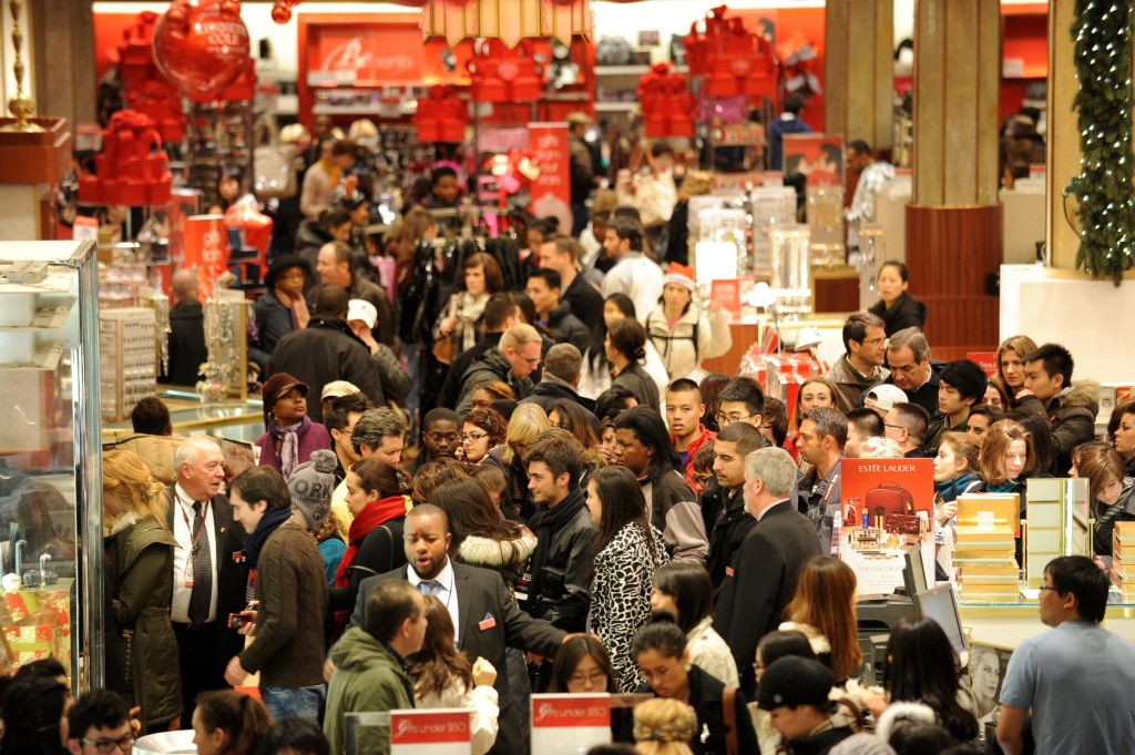 crowded retail department store