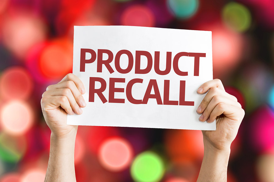 Product Recall card with colorful background with defocused lights