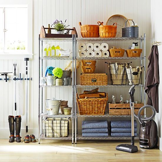 wire shelving in mudroom