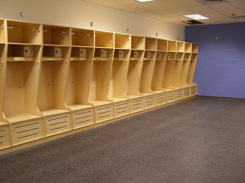 wood lockers in locker room