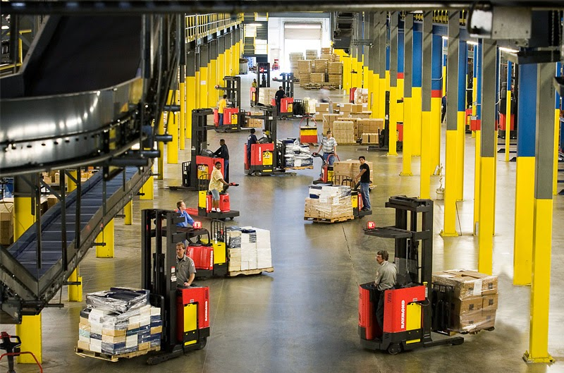 warehouse with forklifts