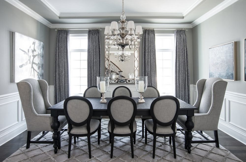 Dining room with gray furniture