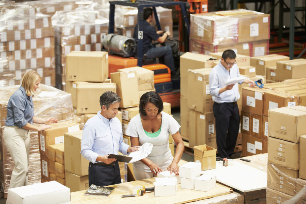 taking inventory in warehouse