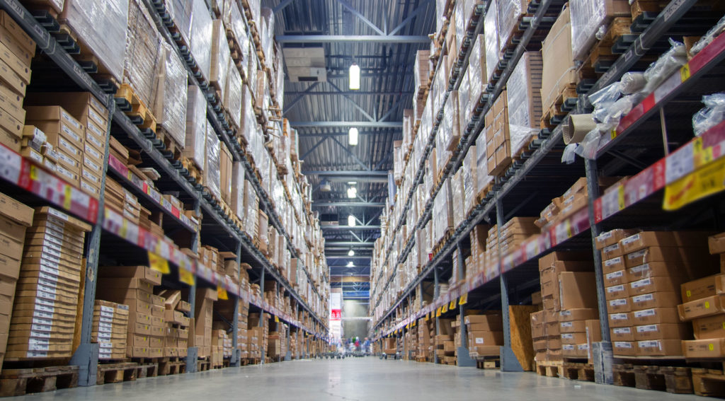 Warehouse shelves with inventory