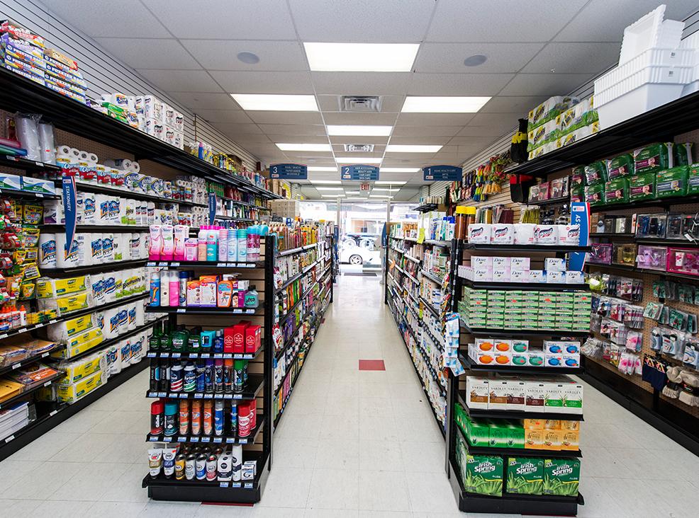 Rows of gondala retail shelving